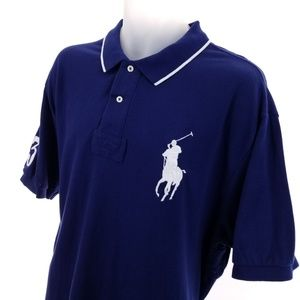 Polo by Ralph Lauren Shirts - 2XL PRL BIG Pony #3 Mens Rugby Shirt Navy Blue